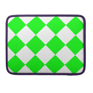 Diag Checkered Large - White and Electric Green Sleeve For MacBook Pro
