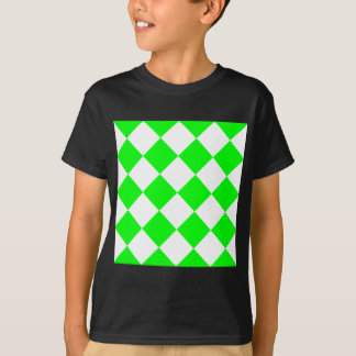 Diag Checkered Large - White and Electric Green T-Shirt
