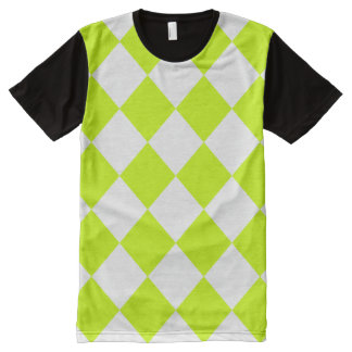 Diag Checkered Large-White and Fluorescent Yellow All-Over-Print Shirt