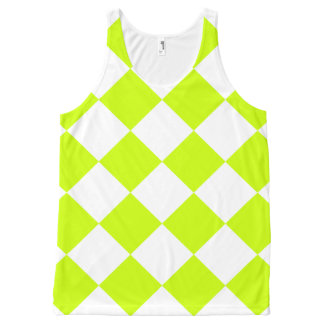 Diag Checkered Large-White and Fluorescent Yellow All-Over-Print Tank Top