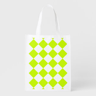 Diag Checkered Large-White and Fluorescent Yellow Grocery Bags