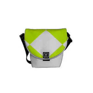 Diag Checkered Large-White and Fluorescent Yellow Messenger Bag