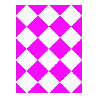 Diag Checkered Large - White and Fuchsia Card