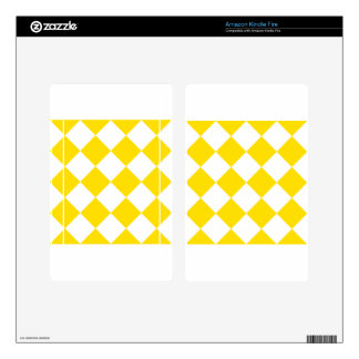 Diag Checkered Large - White and Golden Yellow Kindle Fire Skin