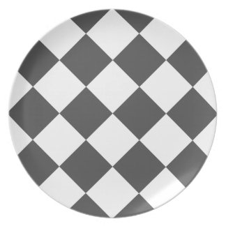 Diag Checkered Large - White and Gray Dinner Plate