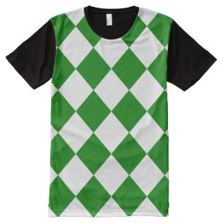 Diag Checkered Large - White and Green All-Over Print T-shirt