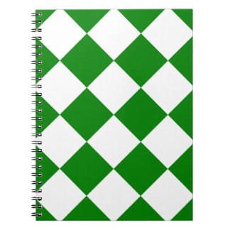 Diag Checkered Large - White and Green Notebook