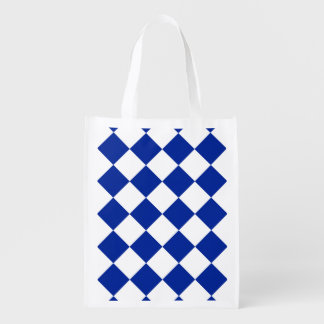 Diag Checkered Large - White and Imperial Blue Reusable Grocery Bags