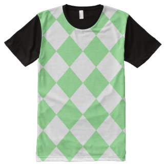 Diag Checkered Large - White and Light Green All-Over Print T-shirt