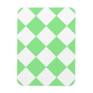 Diag Checkered Large - White and Light Green Rectangular Photo Magnet