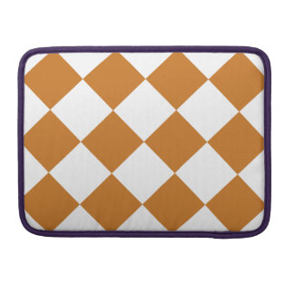 Diag Checkered Large - White and Ochre Sleeve For MacBook Pro