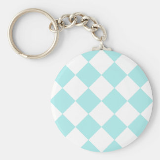 Diag Checkered Large - White and Pale Blue Key Chain
