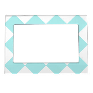 Diag Checkered Large - White and Pale Blue Picture Frame Magnet