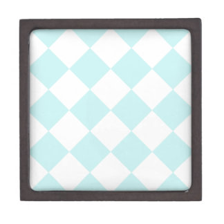 Diag Checkered Large - White and Pale Blue Premium Jewelry Box