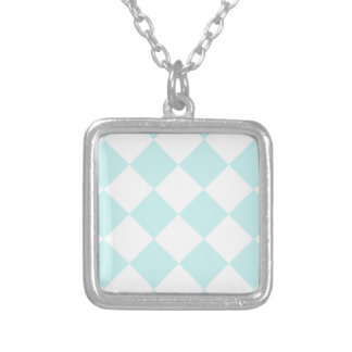 Diag Checkered Large - White and Pale Blue Square Pendant Necklace