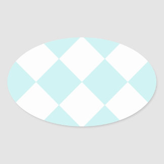 Diag Checkered Large - White and Pale Blue Oval Stickers