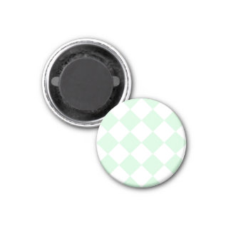 Diag Checkered Large - White and Pastel Green 1 Inch Round Magnet