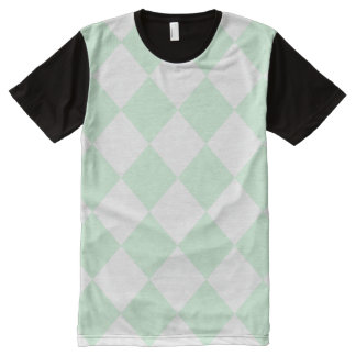 Diag Checkered Large - White and Pastel Green All-Over Print T-shirt