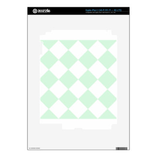 Diag Checkered Large - White and Pastel Green iPad 3 Decals