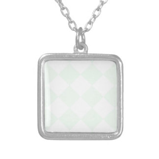 Diag Checkered Large - White and Pastel Green Silver Plated Necklace