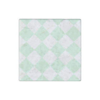 Diag Checkered Large - White and Pastel Green Stone Magnet
