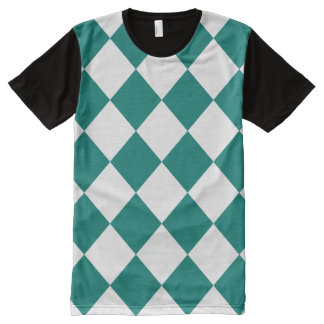Diag Checkered Large - White and Pine Green All-Over Print Shirt