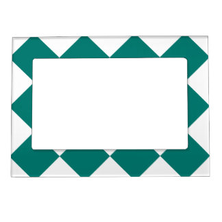 Diag Checkered Large - White and Pine Green Magnetic Frame