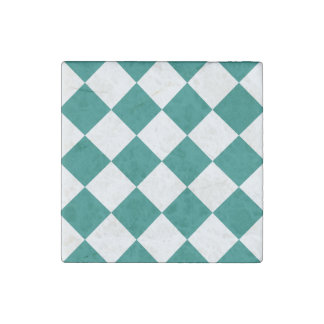Diag Checkered Large - White and Pine Green Stone Magnet