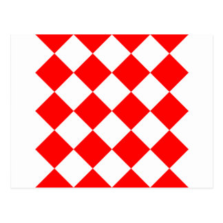 Diag Checkered Large - White and Red Postcard