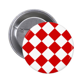 Diag Checkered Large - White and Rosso Corsa 2 Inch Round Button