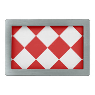 Diag Checkered Large - White and Rosso Corsa Belt Buckle