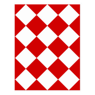Diag Checkered Large - White and Rosso Corsa Postcard