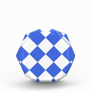 Diag Checkered Large - White and Royal Blue Acrylic Award