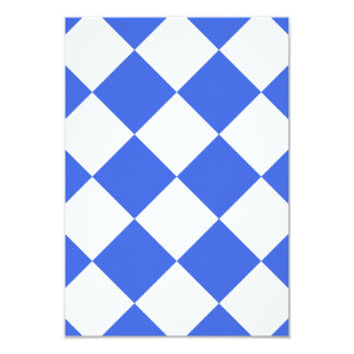 Diag Checkered Large - White and Royal Blue 3.5x5 Paper Invitation Card