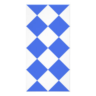 Diag Checkered Large - White and Royal Blue Photo Card