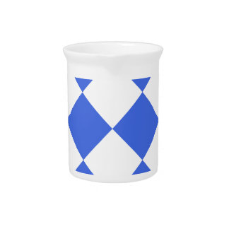 Diag Checkered Large - White and Royal Blue Drink Pitchers