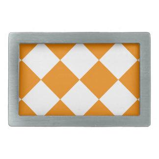 Diag Checkered Large - White and Tangerine Rectangular Belt Buckles