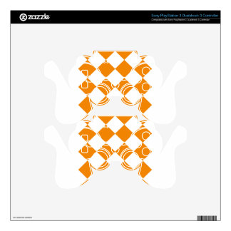 Diag Checkered Large - White and Tangerine Decal For PS3 Controller