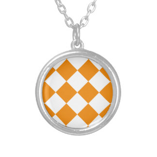 Diag Checkered Large - White and Tangerine Silver Plated Necklace