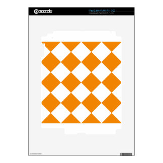 Diag Checkered Large - White and Tangerine Skins For iPad 2
