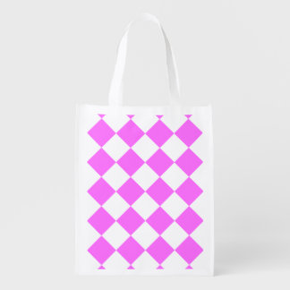Diag Checkered Large - White and Ultra Pink Grocery Bags
