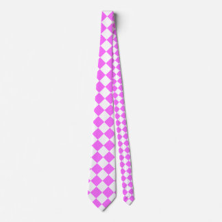 Diag Checkered Large - White and Ultra Pink Neck Tie