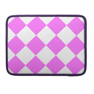 Diag Checkered Large - White and Ultra Pink Sleeve For MacBooks