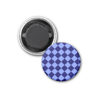 Diag Checkered - Light Blue and Dark Blue 1 Inch Round Magnet