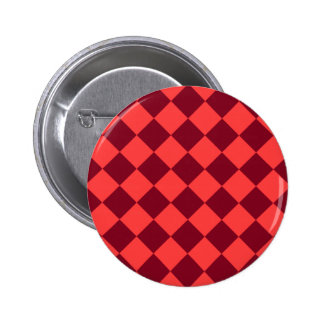 Diag Checkered - Light Red and Dark Red Pinback Button