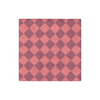 Diag Checkered - Light Red and Dark Red Stone Magnet