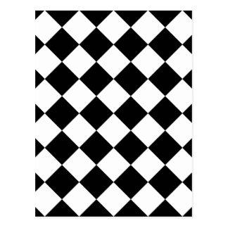 Diag Checkered - White and Black Postcard