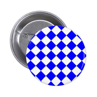 Diag Checkered - White and Blue Pinback Buttons