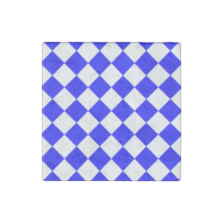 Diag Checkered - White and Blue Stone Magnet
