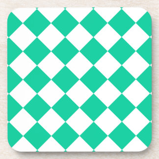 Diag Checkered - White and Caribbean Green Drink Coasters